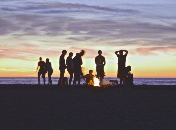 group of people camping together