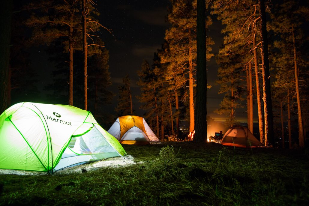 Three illuminated tents set up in in a forest