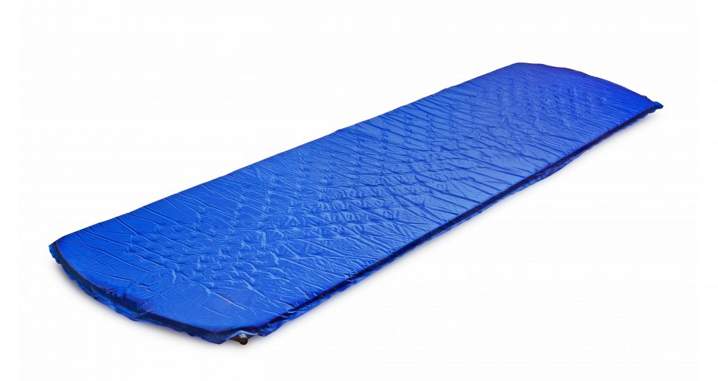 A blue sleeping pad on white background